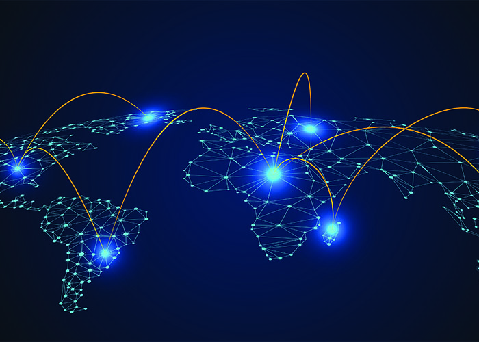 World map with interlinking glowing signals that represent MPLS
