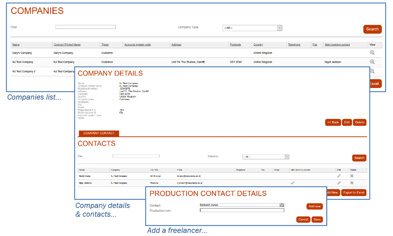 Screenshot of Company and Production Management User Interface
