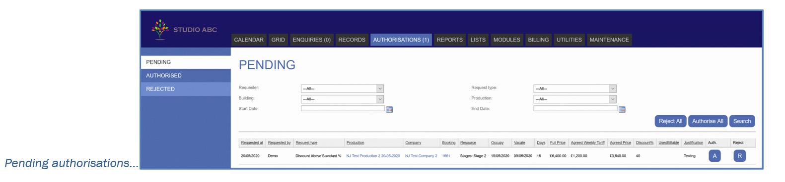 Screenshot of Pending Authorisation for Studio Booking