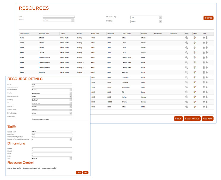 Screenshot of Resource Management for Studio Booking Software
