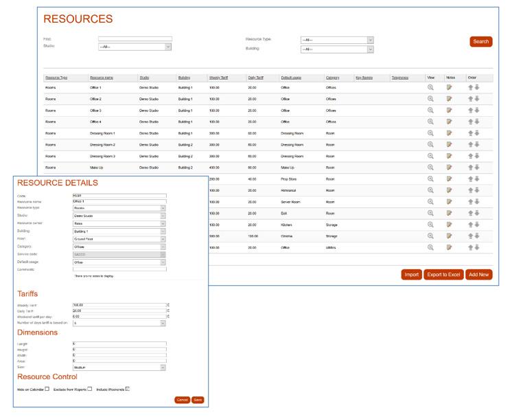 Screenshot of Resource Management for Studio Booking Software